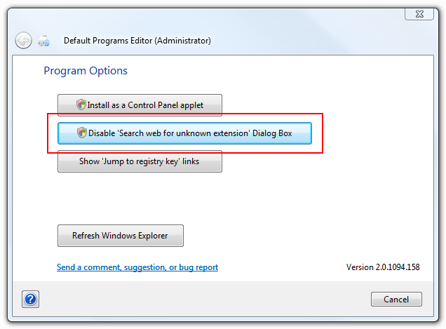 Disable 'Search web for unknown extension' Dialog Box