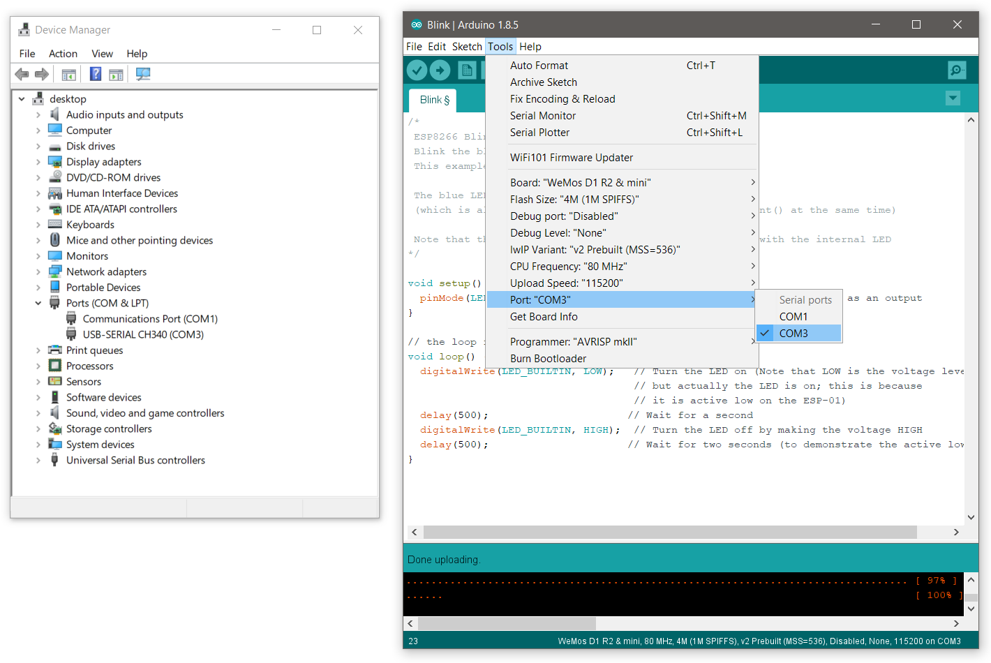 picking the right com port in the arduino ide
